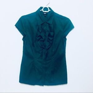 Mossimo Teal ruffle Button Up blouse